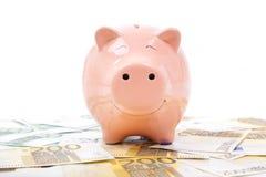 Porcellino salvadanaio sorridente con le euro fatture Fotografia Stock