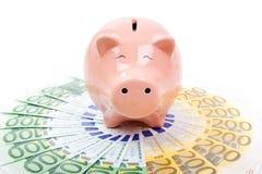 Porcellino salvadanaio sorridente con le euro fatture Immagini Stock