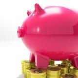 Porcellino salvadanaio su economia dell'internazionale di manifestazioni delle monete Immagini Stock