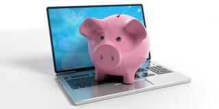 Porcellino salvadanaio su un computer portatile illustrazione 3D Immagine Stock Libera da Diritti