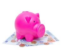 Porcellino salvadanaio sull'euro banconota e monete Immagine Stock