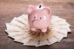 Porcellino salvadanaio sull'euro nota Fotografie Stock
