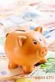 Porcellino salvadanaio sulle euro banconote Fotografie Stock Libere da Diritti