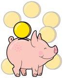 Porcellino salvadanaio sveglio del fumetto con il vettore dorato della moneta Immagine Stock Libera da Diritti