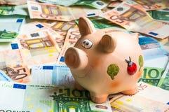 Porcellino salvadanaio in un mucchio di euro soldi Fotografia Stock