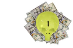 Porcellino salvadanaio verde che sta sulle banconote in dollari isolate sopra bianco Immagine Stock
