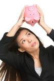 Porcellino salvadanaio vuoto - debito e fallimento dei soldi Fotografia Stock