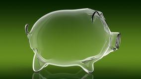 Porcellino salvadanaio vuoto trasparente rappresentazione 3d Fotografia Stock Libera da Diritti