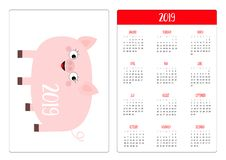 Porcellino sveglio del maiale Layout calendario semplice della tasca 2019 nuovi anni La settimana comincia domenica Personaggio d illustrazione di stock