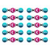 Porcentagem da moeda do Euro Fotografia de Stock Royalty Free