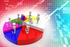 Porcentagem e compra do gráfico de círculo da equipe do negócio Fotos de Stock Royalty Free