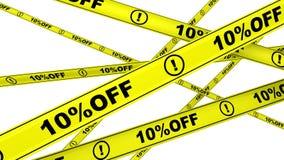 porcentagem 10 fora Fitas de advertência amarelas ilustração stock