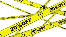 porcentagem 20 fora Fitas de advertência amarelas ilustração do vetor