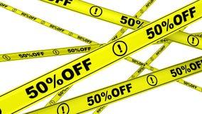 porcentagem 50 fora Fitas de advertência amarelas ilustração do vetor