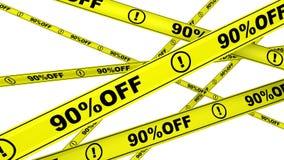 Porcentagem noventa fora Disconto de 90% Fitas de advertência amarelas no movimento ilustração royalty free