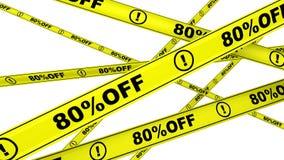 Porcentagem oitenta fora Disconto de 80% Fitas de advertência amarelas no movimento ilustração do vetor