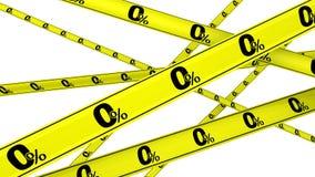 Porcentagem zero Fitas de advertência amarelas ilustração do vetor