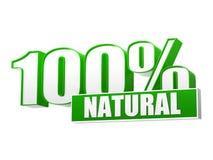 100 porcentagens naturais nas letras 3d e no bloco Fotos de Stock Royalty Free
