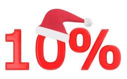 porcentaje 3d 10, casquillo de Navidad ilustración del vector