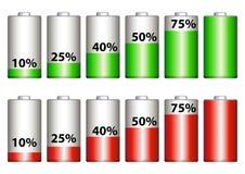 Porcentaje de la batería Fotos de archivo libres de regalías