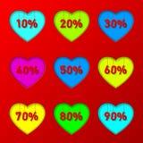 Porcentaje en corazones Fotos de archivo