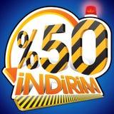 Porcentaje turco 50 de la escala del descuento El cincuenta por ciento Deletreo turco Fotografía de archivo