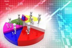 Porcentaje y compras del gráfico de círculo del equipo del negocio Fotos de archivo libres de regalías