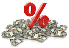 Porcentaje y dinero Fotografía de archivo libre de regalías