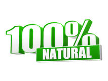 100 porcentajes naturales en las letras 3d y bloque Fotos de archivo libres de regalías