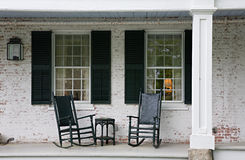 Porch. Rocking chairs on porch of old country home Royalty Free Stock Photography