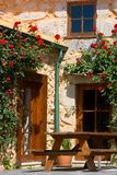 Porch with beautiful flowers Royalty Free Stock Image
