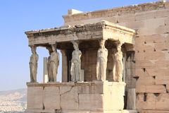 Porch of Caryatides in Erechtheum from Athenian Acropolis, Greec Royalty Free Stock Photos