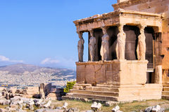 Porch of the Caryatids. Ancient Porch of the Caryatids overlooking Athens royalty free stock photo