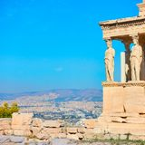The Porch of The Caryatids on the Acropolis. In Athens, Greece. Space for text stock photo