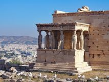 The Porch of the Caryatids, Athens, Greece. The Porch of the Caryatids on the Acropolis with the city of Athens, Greece in the background stock photography