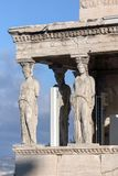 The Porch of the Caryatids in The Erechtheion at Acropolis of Athens, Attica, Greece. View of the Porch of the Caryatids in The Erechtheion at Acropolis of royalty free stock images