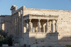 The Porch of the Caryatids in The Erechtheion at Acropolis of Athens, Attica, Greece. View of the Porch of the Caryatids in The Erechtheion at Acropolis of stock photo