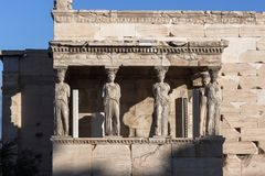 The Porch of the Caryatids in The Erechtheion at Acropolis of Athens, Attica, Greece. View of the Porch of the Caryatids in The Erechtheion at Acropolis of stock photography