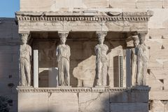 The Porch of the Caryatids in The Erechtheion at Acropolis of Athens, Attica, Greece. View of the Porch of the Caryatids in The Erechtheion at Acropolis of royalty free stock image