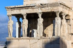 The Porch of the Caryatids in The Erechtheion at Acropolis of Athens, Attica, Greece. View of the Porch of the Caryatids in The Erechtheion at Acropolis of stock images
