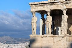 The Porch of the Caryatids in The Erechtheion at Acropolis of Athens, Attica, Greece. View of the Porch of the Caryatids in The Erechtheion at Acropolis of stock image