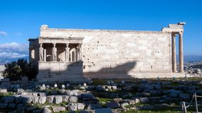 The Porch of the Caryatids in The Erechtheion an ancient Greek temple on the north side of the Acropolis of Athens. Attica, Greece stock image