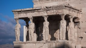 The Porch of the Caryatids in The Erechtheion an ancient Greek temple on the north side of the Acropolis of Athens. Attica, Greece royalty free stock photo