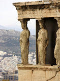 The Porch of the Caryatids,Erechtheion detail. Erechtheion is an ancient Greek temple on the north side of the Acropolis of Athens in Greece stock photos