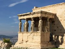 Porch of the Caryatids. The Erechtheion or Erechtheum is an ancient Greek temple on the north side of the Acropolis of Athens in Greece which was dedicated to stock images