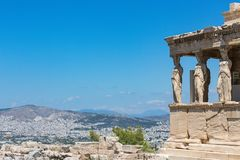 the porch of the Caryatids, The Erechtheum, Acropolis of Athens, Athens, Greece, Europe royalty free stock photo