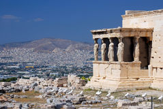 Porch of the Caryatids in Erechtheum, Athens. Erechtheum is an ancient Greek temple on the north side of the Acropolis of Athens in Greece. The temple as seen Royalty Free Stock Photo