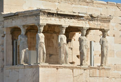 The Porch of Caryatids. The famous woman shaped columns of the Erechtheum in Athens Royalty Free Stock Image