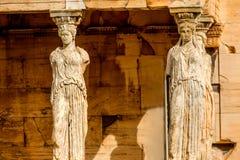 Porch Caryatids Ruins Temple Erechtheion Acropolis Athens Greece Royalty Free Stock Images