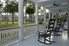 Porch and chairs. Porch with rocking chairs looking over greenway royalty free stock photo